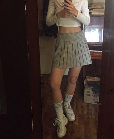 Теннисная юбка мини в складку плиссе в клетку школьная