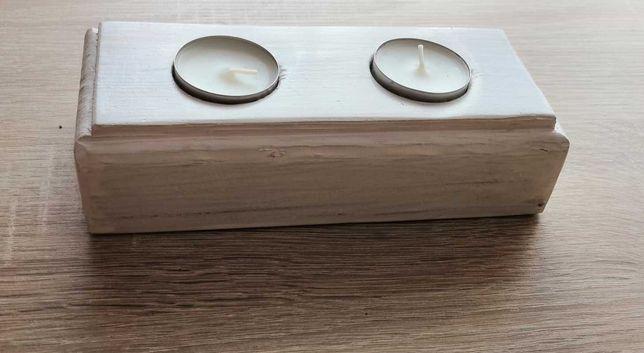 Drewniany świecznik na 2 Tealighty