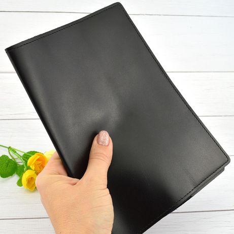 Кожаная обложка для ежедневника / блокнота ф. А5 Crez черная гладкая