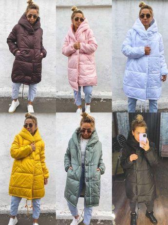 Теплая объемная зимняя куртка зефирка на силиконе, пальто с капюшоном