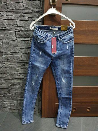 Spodnie jeans slim 38 roz M przy dwóch parach sprzedam po60zloty