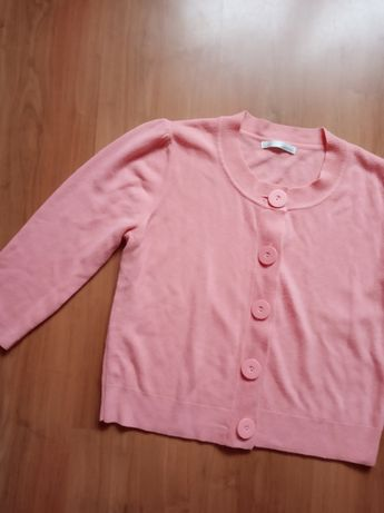 Łososiowy sweter rękaw 3/4 różowy guziki kardigan L 40