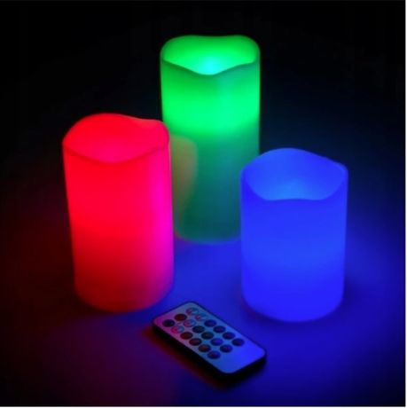 Świeczki LED RGB Pilot 3szt 12kolorów