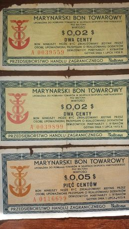 Zamienię bony Baltona na banknoty