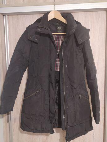 Zara płaszcz kurtka zimowa puchowa z pierza pikowana czarna S