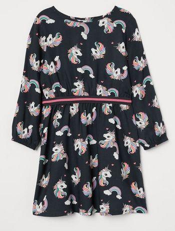 Платье H&M ХМ единорог единорожка р. 134 на 7-8 лет маломерит