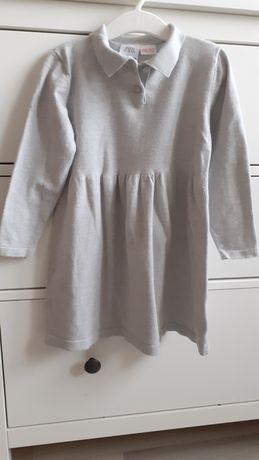 Zara sukienka dziewczynka sweterkowa dzianina szara 98/104