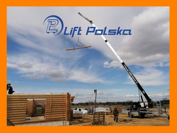 Wynajem żurawia domy drewniane bale konstrukcje szkieletowe LiftPolska