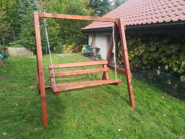 Ostatnia sztuka, promocja!! Huśtawka ogrodowa drewniana solidna