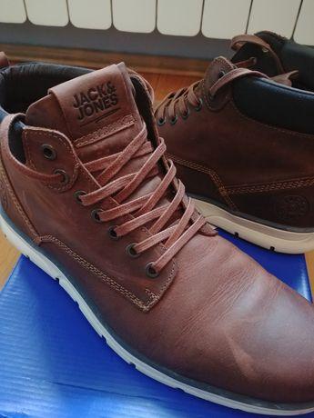 Buty trzewiki zimowe męskie skóra nubuk brązowe Jack&Jones 42 NOWE