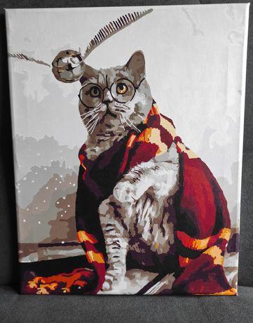 Pomalowany obraz ,,Magiczny kot '', Harry Potter-malowanie po numerach