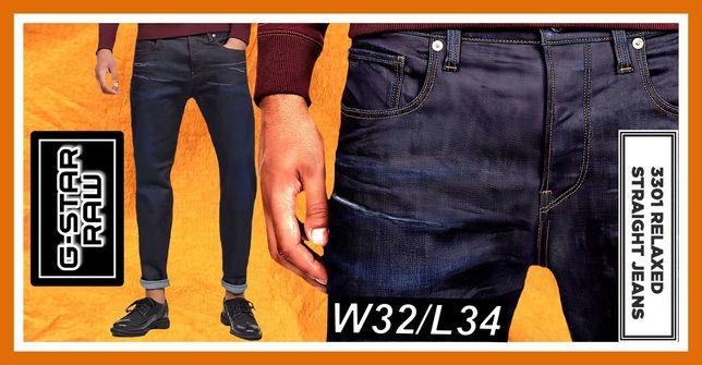 Spodnie W32L34 G Star Raw 3301 Relaxed W32L34 Visor R Stretch Denim
