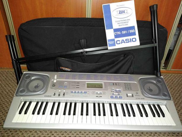 Casio CTK-591 + Stojak + pokrowiec Canto