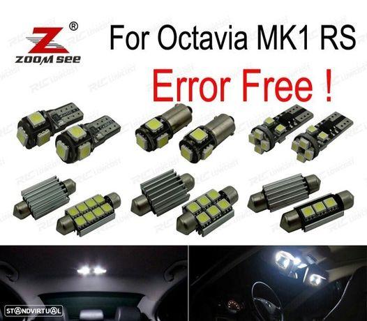 KIT COMPLETO DE 10 LÂMPADAS LED INTERIOR PARA SKODA OCTAVIA MK 1 MKI RS 1U2 1996-2004