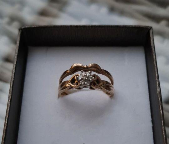 Pierścionek 2 w 1 piękny złoto 585 4g