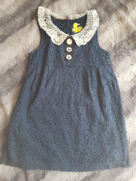 Sukienka koronkowa granatowa Next rozmiar 122