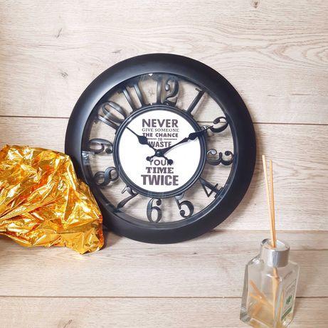 Часы настенные, годинник Skeleton Time 30, черные, белые