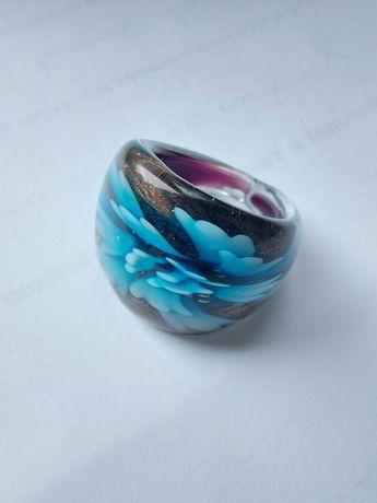 Каблучка (кольцо), скло, блакитна квітка