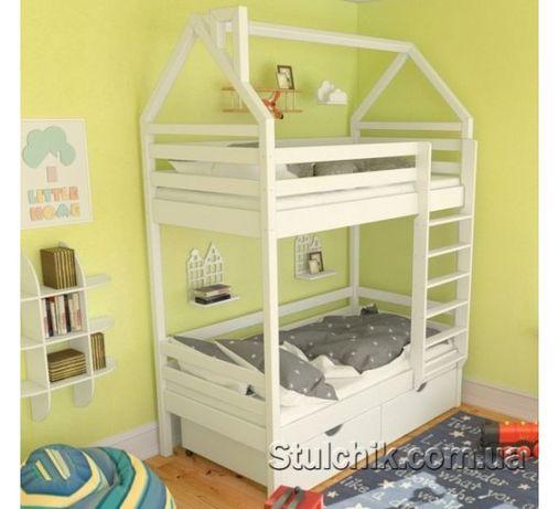Оригинальная кровать домик двухъярусный Бристоль