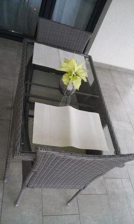 Meble ogrodowe,balkonowe, Technorattan,Stół+2 krzesła,Zestaw na balkon