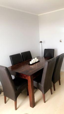 Stół z palisandru indyjskiego i 6 krzeseł ze skóry