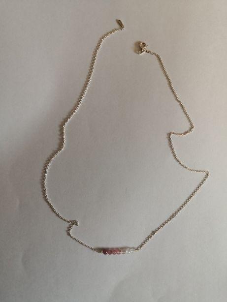 FRANCOW NASZYJNIK SREBRNY KAMIENIE gradient różowy biżuteria damska