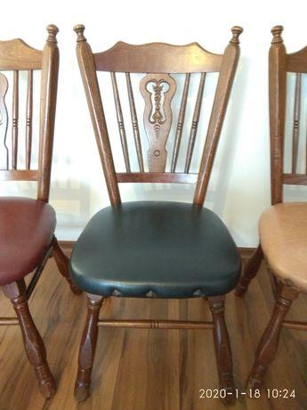 Krzesła drewniane, holenderskie rzeźbione 8 sztuk