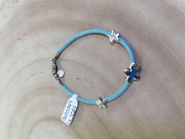 Pulseira criança fio azul com flor + estrelas em prata de lei