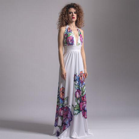 Felicja - biała suknia maxi w kwiaty