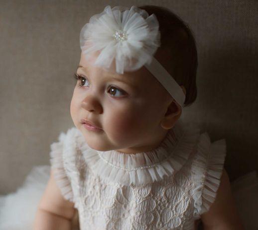 Opaska do chrztu dla dziewczynki, opaska na roczek 44-48 cm
