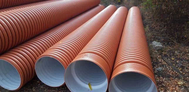 Трубы 160 - 1400 гофрированные канализационные, дренажные, для футляра