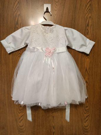 Sukienka bolerko zestaw do chrztu dla dziewczynki rozmiar 80