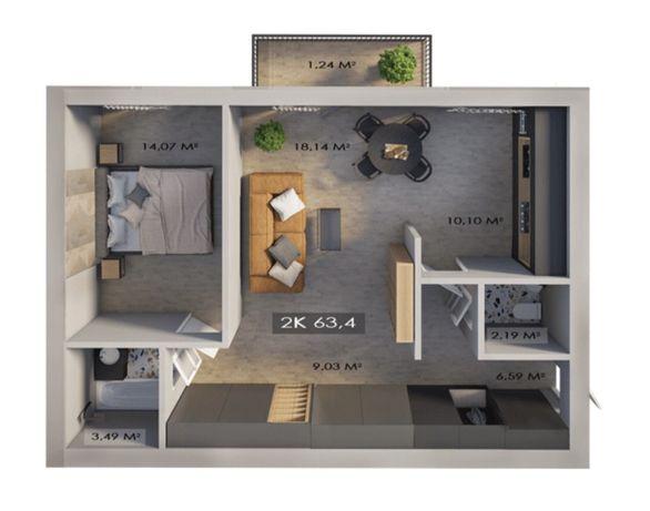 2-ох кімнатна квартира в сучасній новобудові Центр. Клубне Містечко 12