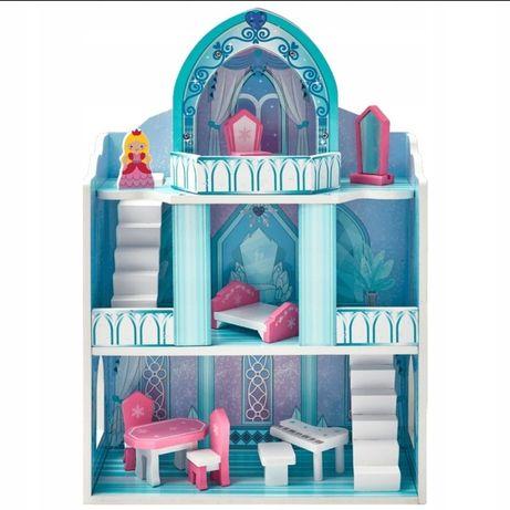 Domek dla dziewczynki Drewniany Śnieżny Pałac Balkon 2 Piętra Meble