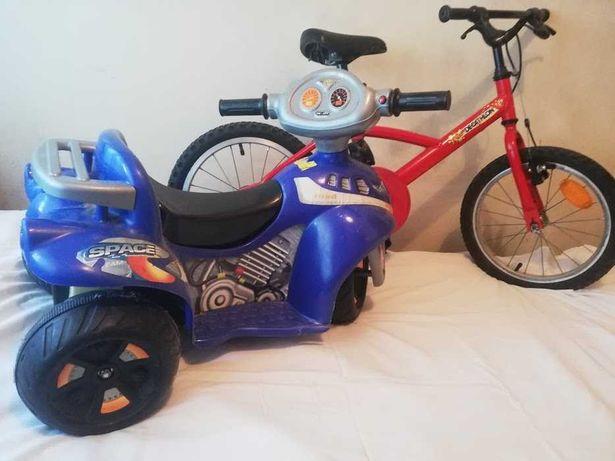 Bicicleta roda 16 e mota eléctrica para criança