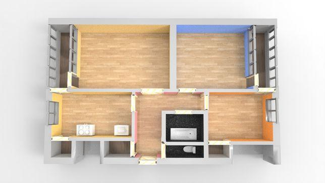 Продаж 3-кімнатної квартири з індивідуальним опаленням