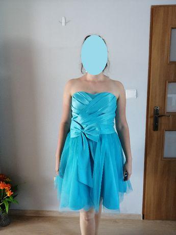 Niebieska gorsetowa sukienka r. 42 lub 44