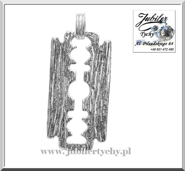 Srebrna zawieszka żyletka srebro Ag 925 żyleta ze srebra razor blade