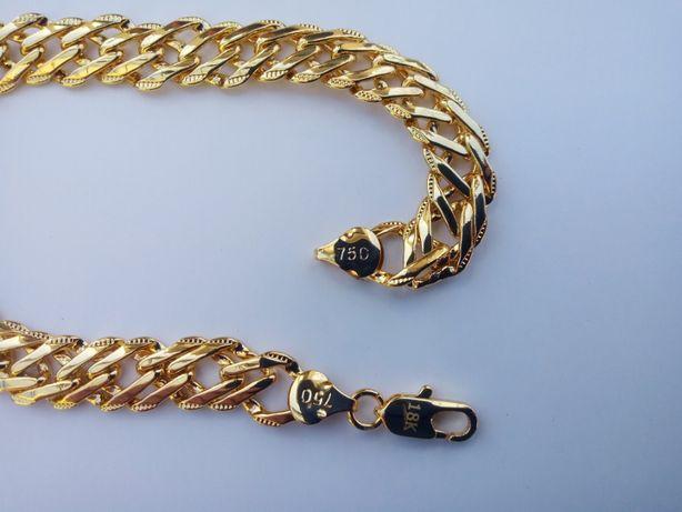 Złota bransoletka,pozłacana bransoletka,grawer 18k,750,italy,NOWA