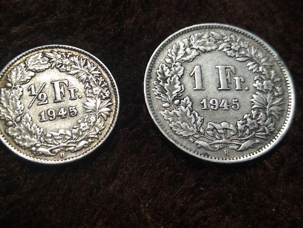 1 i pół 1/2 franka szwajcarskiego 1945 r Srebro cena za komplet