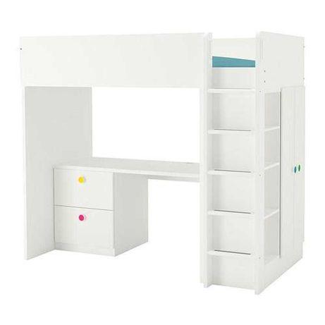 SMÅSTAD Łóżko na antresoli, biały biały/z biurkiem 90x200 cm