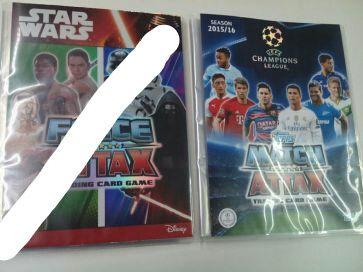 Álbuns Topps, cadernetas Champions e Star Wars continente