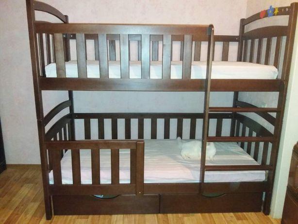 Детская мебель двухярусная кровать-трансформер с дерева кроватка