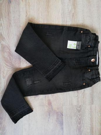 Spodnie jeansy skinny czarne/grafitowe z przetarciami na 4-5 lat