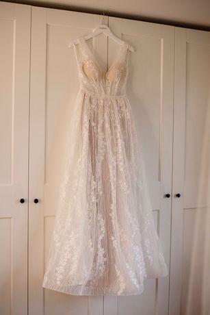 Suknia ślubna, koronkowa, pudrowy róż, ecru. Madonna, rozmiar 36.