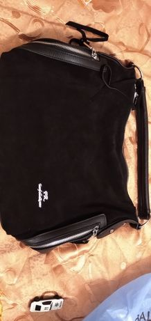 Кожаная сумка с замшевой вставкой Farfalla Rosso