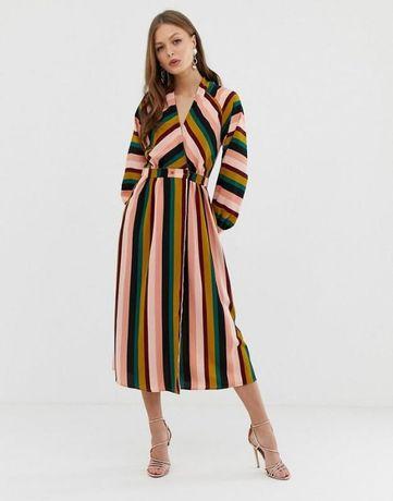 ASOS Изумительное полосатое платье, размер 44-46