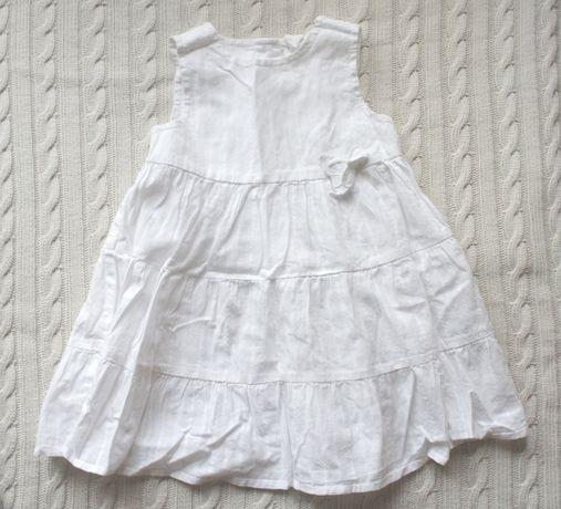 H&M Sukienka BIAŁA 6-9 MIESIĘCY 74 CM