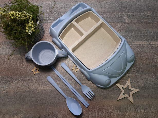 Детский набор столовой посуды Машинка ЭКО из 7 предметов