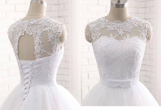 suknia ślubna z kokardą wiązanie tren 36, 38, 40, 42, 44, 46, 46W, 48